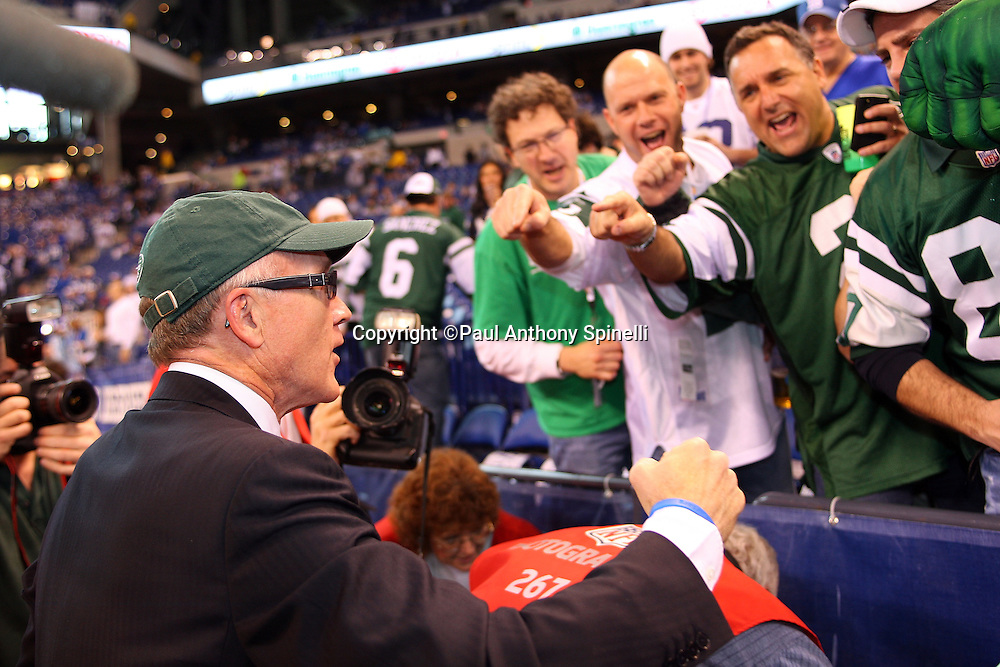 New York Jets owner Woody Johnson has some fun with fans prior to the AFC Championship football game against the Indianapolis Colts, January 24, 2010 in Indianapolis, Indiana. The Colts won the game 30-17. ©Paul Anthony Spinelli