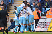 Coventry City striker George Thomas (27) scores a goal 1-0 and and celebrates during the EFL Sky Bet League 1 match between Coventry City and Bristol Rovers at the Ricoh Arena, Coventry, England on 25 March 2017. Photo by Alan Franklin.