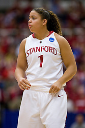 March 22, 2010; Stanford, CA, USA; Stanford Cardinal guard Grace Mashore (1) during the second half against the Iowa Hawkeyes in the second round of the 2010 NCAA womens basketball tournament at Maples Pavilion. Stanford defeated Iowa 96-67.