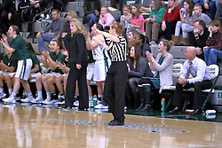 07 January 2017:  Robyn Foster calls travelling during an Wheaton Thunder and the Illinois Wesleyan Titans in Shirk Center, Bloomington IL