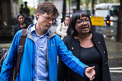 "London, UK. 25 September, 2019. Shadow Home Secretary Diane Abbott arrives at broadcasting studios in Westminster for an interview the day after the Supreme Court ruled that the Prime Minister's decision to suspend parliament was ""unlawful, void and of no effect"". Credit: Mark Kerrison/Alamy Live News"