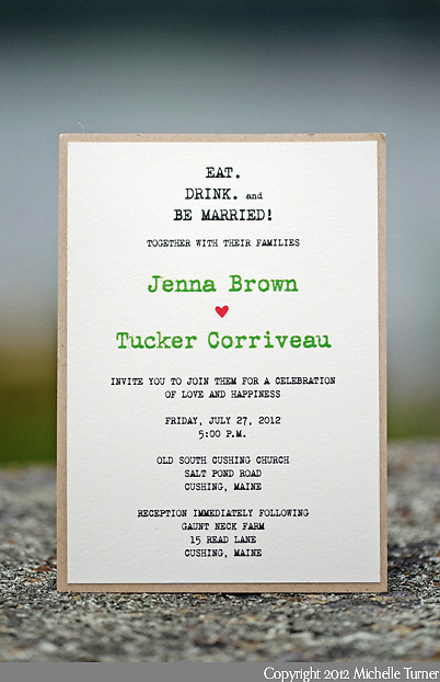 The invitation from Jenna and Tucker's coastal Maine wedding. Photography by Maine Wedding Photographer Michelle Turner.