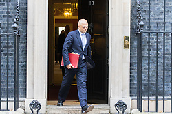Downing Street, London, February 28th 2017. Communities and Local Government Secretary Sajid Javid leaves the weekly cabinet meeting at 10 Downing Street in London.