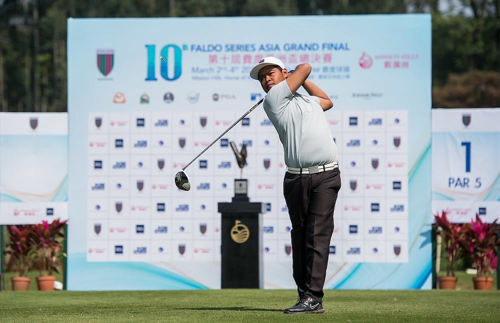 Christer Rem Sibug of Philippines in action during day one of the 10th Faldo Series Asia Grand Final at Faldo course in Shenzhen, China. Photo by Xaume Olleros.