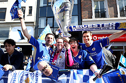 Leicester City fans celebrate winning the title during the open top bus parade - Mandatory by-line: Robbie Stephenson/JMP - 16/05/2016 - FOOTBALL - Leicester City FC, Barclays Premier League Winners 2016 - Leicester City Victory Parade