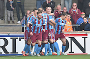 Scunthorpe celebrate scoring to go 1-0 up during the Sky Bet League 1 match between Scunthorpe United and Barnsley at Glanford Park, Scunthorpe, England on 31 October 2015. Photo by Ian Lyall.