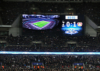 Football - 2016 / 2017 UEFA Champions League - Group E: Tottenham Hotspur vs. Bayer Leverkusen<br /> <br /> The Scoreboard shows spurs defeat at Wembley.<br /> <br /> COLORSPORT/ANDREW COWIE