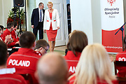 Warsaw, Poland - 2017 March 31: First Lady Agata Kornhauser-Duda looks forward next to Antoni Wiercioch while meeting with  Special Olympics athletes at Polish President's Palace on March 31, 2017 in Warsaw, Poland.<br /> <br /> Mandatory credit:<br /> Photo by &copy; Adam Nurkiewicz / Mediasport<br /> <br /> Adam Nurkiewicz declares that he has no rights to the image of people at the photographs of his authorship.<br /> <br /> Picture also available in RAW (NEF) or TIFF format on special request.<br /> <br /> Any editorial, commercial or promotional use requires written permission from the author of image.<br /> <br /> Image can be used in the press when the method of use and the signature does not hurt people on the picture.