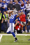 Indianapolis Colts wide receiver Pierre Garcon (85) catches an over the shoulder deep pass good for a first quarter first down at the New York Jets 9 yard line during the AFC Championship football game against the New York Jets, January 24, 2010 in Indianapolis, Indiana. The Colts won the game 30-17. ©Paul Anthony Spinelli
