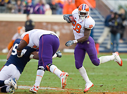 Clemson running back C.J. Spiller (28) cuts up field on after a pass reception against UVA.  The Clemson Tigers defeated Virginia Cavaliers 13-3 in NCAA Division 1 football at Scott Stadium on the Grounds of the University of Virginia in Charlottesville, VA on November 22, 2008.