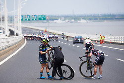 Urska Bravec (SLO) and Shannon Malseed (AUS) get caught in a crash at Tour of Chongming Island 2019 - Stage 2, a 126.6 km road race from Changxing Island to Chongming Island, China on May 10, 2019. Photo by Sean Robinson/velofocus.com