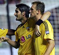 Fotball<br /> Foto: imago/Digitalsport<br /> NORWAY ONLY<br /> <br /> 09.08.2006  <br /> <br /> Nikos Lyberopoulos (li.) und Pantelis Kapetanos (beide AEK Athen) - Torjubel<br /> <br /> Champions League Qualifikation 2006/2007, Hearts of Midlothian - AEK Athen 1:2
