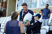 Jos Buttler of England signs his autograph for a young fan during the 5th International Test Match 2019 match between England and Australia at the Oval, London, United Kingdom on 14 September 2019.