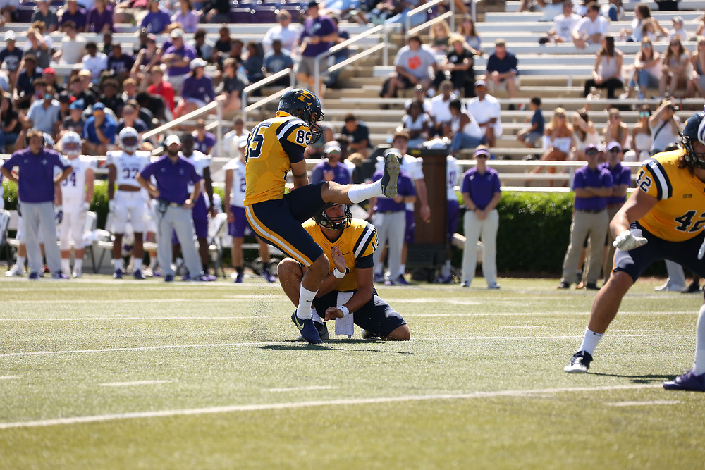 September 30, 2017 - Greenville, South Carolina -  Paladin Stadium: ETSU kicker JJ Jerman (85), ETSU quarterback Nick Sexton (19)<br /> <br /> Image Credit: Dakota Hamilton/ETSU