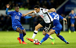 Nick Blackman of Derby County takes on Yohan Benalouane and Nampalys Mendy of Leicester City - Mandatory by-line: Robbie Stephenson/JMP - 08/02/2017 - FOOTBALL - King Power Stadium - Leicester, England - Leicester City v Derby County - Emirates FA Cup fourth round replay