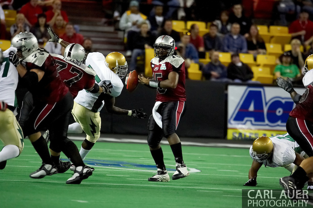 4/12/2007 - Alaska Wild quarterback Terrance Matthews (15) in the 33-46 loss to the Frisco Thunder.