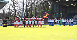 Fleetwood Town and Bury players observe a minutes silence before the game for the London Terror Attack - Mandatory by-line: Jack Phillips/JMP - 25/03/2017 - FOOTBALL - Gigg Lane - Bury, England - Bury v Fleetwood Town - Football League 1