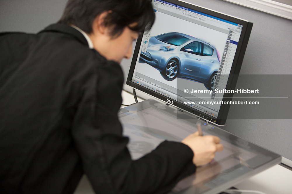 Car designer working on a computer illustration of the new Nissan electric zero-emission 'Leaf' vehicle, at the Nissan Design Centre, Atsugi, Japan, on Friday 26th March 2010.