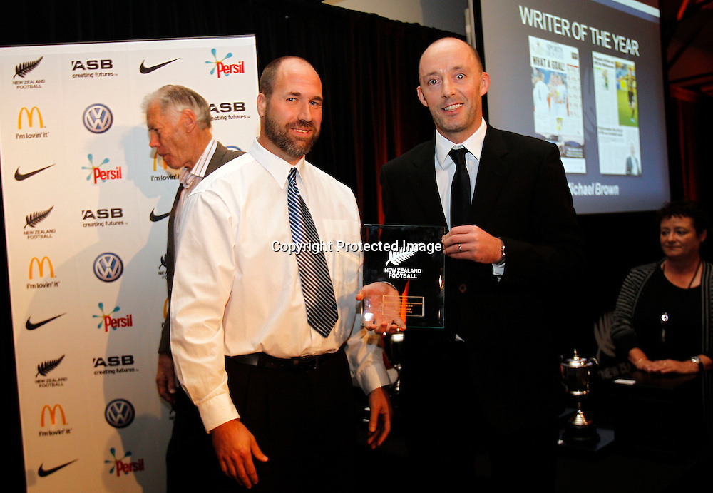 New Zealand Soccer Media Association Awards, Michael Brown (right) Writer of the Year. 2010 New Zealand Football Awards, Auckland Maritime Museum Auckland, Friday 28th May 2011. Photo: Shane Wenzlick