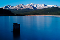 Turquoise Lake Early Morning Panorama. Near Leadville, Colorado. Composite of three image taken with a Nikon D3x camera and 85 mm f/2.8 PC-E lens and Singray neutral density filter (ISO 100, 24 mm, f/16, 30 sec). Raw images processed with Capture One Pro, and the composite generated  with AutoPano Giga Pro.