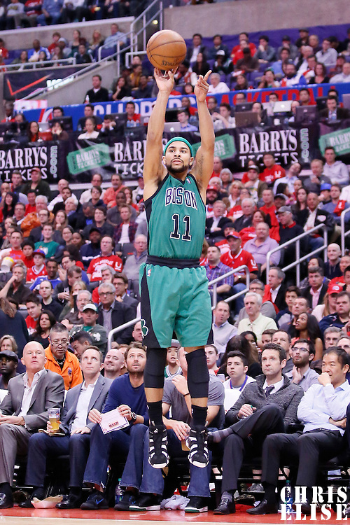 08 January 2014: Boston Celtics point guard Jerryd Bayless (11) takes a jumpshot during the Los Angeles Clippers 111-105 victory over the Boston Celtics at the Staples Center, Los Angeles, California, USA.