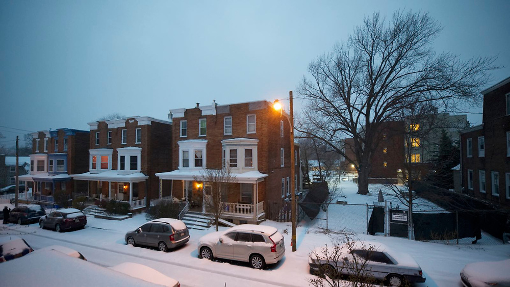 View on a street in West Mt Airy, on Tuesday morning as the region is hit by snowstorm Stella. (Bastiaan Slabbers for NewsWorks)