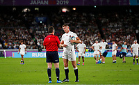 Rugby Union - 2019 Rugby World Cup - Semi-Final: England vs. New Zealand<br /> <br /> Nigel Owens explains to Owen Farrell, the England captain, why he didn't allow Sam Underhill of England try to stand at International Stadium Yokohama, Kanagawa Prefecture, Yokohama City.<br /> <br /> COLORSPORT/LYNNE CAMERON