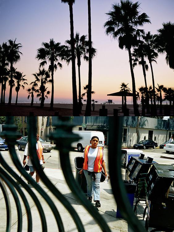 Las palmeras se recortan al atardecer frente al mar en la playa de Santa Monica..Una trabajadora de recogida de basuras transporta un cubo en una calle de West Hollywood..