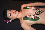 "Spencer Tunick Mardi Gras media conference, Sydney..Two naked models covered .in strategically placed award winning.sushi,inspired by a scene from ""Sex and the City""..Paul Lovelace Photography..Total 50 Images-Non Exclusive . An instant sale option is available where a price can be agreed on image useage size. Please contact me if this option is preferred."