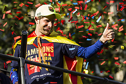 April 30, 2018 - Barcelona, Catalonia, Spain - Sergi Roberto during the FC Barcelona Victory Parade at the streets of Barcelona on 30 of April of 2018 in Barcelona. (Credit Image: © Xavier Bonilla/NurPhoto via ZUMA Press)