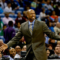 Jan 25, 2013; New Orleans, LA, USA; New Orleans Hornets head coach Monty Williams reacts to a foul call during the second quarter of a game at the New Orleans Arena. Mandatory Credit: Derick E. Hingle-USA TODAY Sports