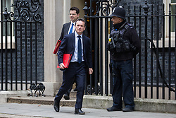 London, UK. 15th January, 2019. Alun Cairns MP, Secretary of State for Wales, and James Brokenshire MP, Secretary of State for Housing, Communities and Local Government, leave 10 Downing Street following a Cabinet meeting on the day of the vote in the House of Commons on Prime Minister Theresa May's proposed final Brexit withdrawal agreement.