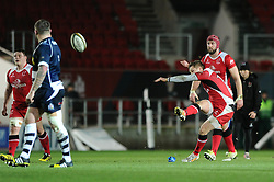 Ulster Fly Half Johnny McPhillips scores a penalty goal from 45m to make it 3-8 - Mandatory byline: Dougie Allward/JMP - 22/01/2016 - RUGBY - Ashton Gate -Bristol,England - Bristol Rugby v Ulster Rugby - B&I Cup