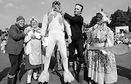 Adult fancy dress l to r: 4th Mandy &  Doreen Rounds, Grimethorpe; 3rd John Garrity, Grimethorpe; 1st Brian Roberts, Redbrook; 2nd Gary Harman, Wistow. 1992 Yorkshire Miners Gala, Barnsley.