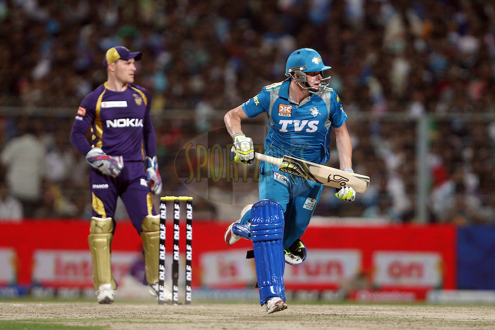 Steve Smith during match 47 of the the Indian Premier League ( IPL) 2012  between The Kolkata Knight Riders and The Pune Warriors India held at the Eden Gardens Stadium in Kolkata on the 5th May 2012..Photo by Jacques Rossouw/IPL/SPORTZPICS