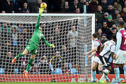 Aston Villa goalkeeper, on loan from Manchester United, Sam Johnstone (34) saves a header from Derby County forward Darren Bent (11) during the EFL Sky Bet Championship match between Aston Villa and Derby County at Villa Park, Birmingham, England on 25 February 2017. Photo by Jon Hobley.