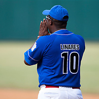 15 February 2009: First base coach Omar Linares is seen during a training game of Cuba Baseball Team for the World Baseball Classic 2009. The national team is pitted against itself, divided in two teams called the Occidentales and the Orientales. The Orientales win 12-8, at the Latinoamericano stadium, in la Habana, Cuba.