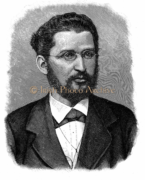 Eduard Bernstein (1850-1932) German socialist leader.  Lived in England 1808-1901.  Associate of Engels. Engraving.
