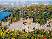 Aerial view of Devil's Lake State Park, Sauk County, Wisconsin, with Baraboo in the background.
