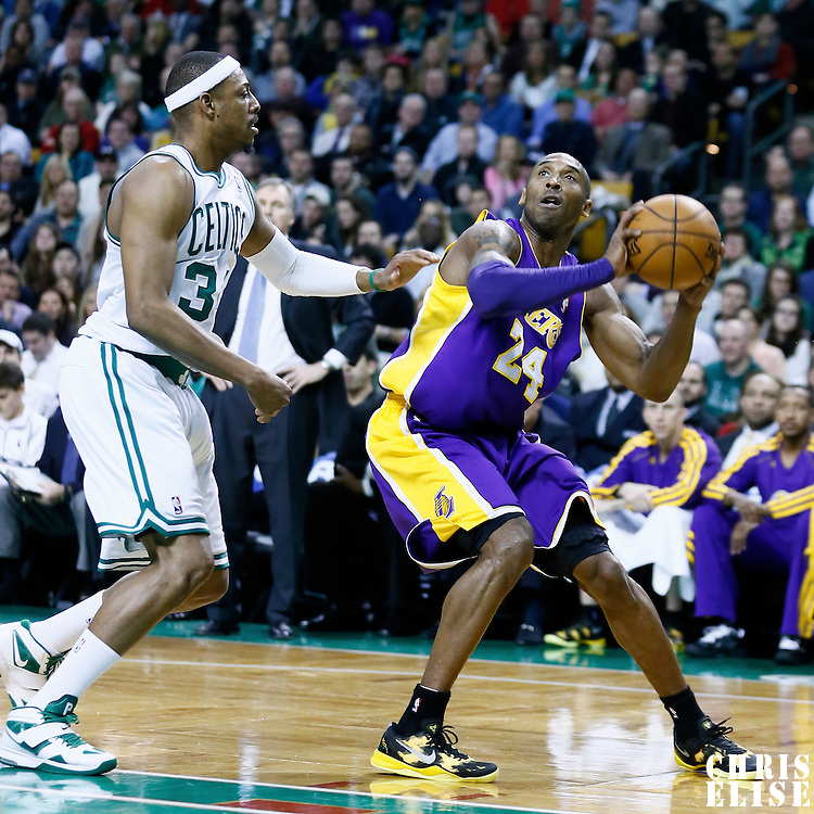07 February 2013: Los Angeles Lakers shooting guard Kobe Bryant (24) eyes the basket during the Boston Celtics 116-95 victory over the Los Angeles Lakers at the TD Garden, Boston, Massachusetts, USA.