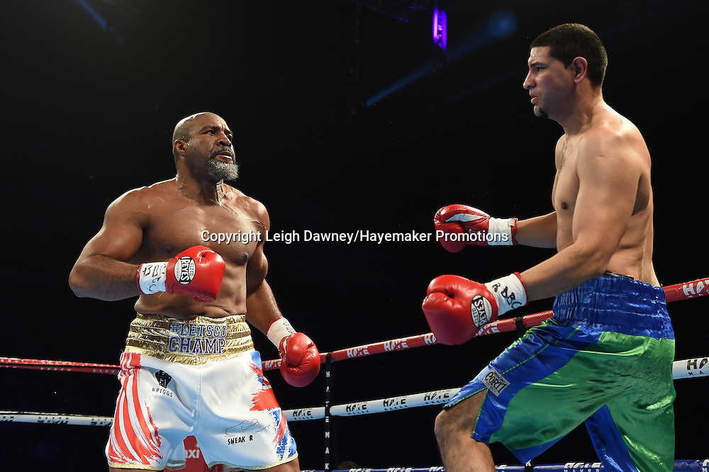 Shannon Briggs v Emilio Ezequiel Zarate in a heavyweight contest at the 02 Arena, London on the 21st May 2016. Photo credit: Leigh Dawney/Hayemaker Promotions.