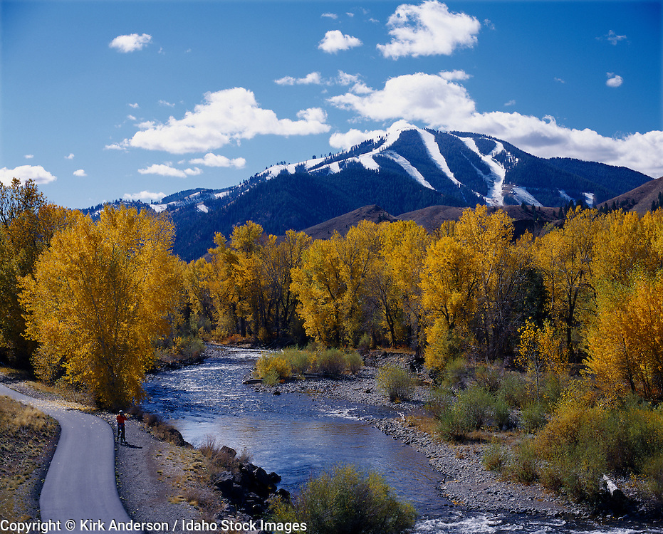 Idaho, Sun Valley.  The Big Wood river and mount Baldy in autumn.