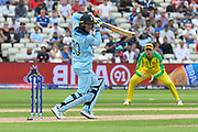 Jason Roy of England gets off the mark during the ICC Cricket World Cup 2019 semi final match between Australia and England at Edgbaston, Birmingham, United Kingdom on 11 July 2019.
