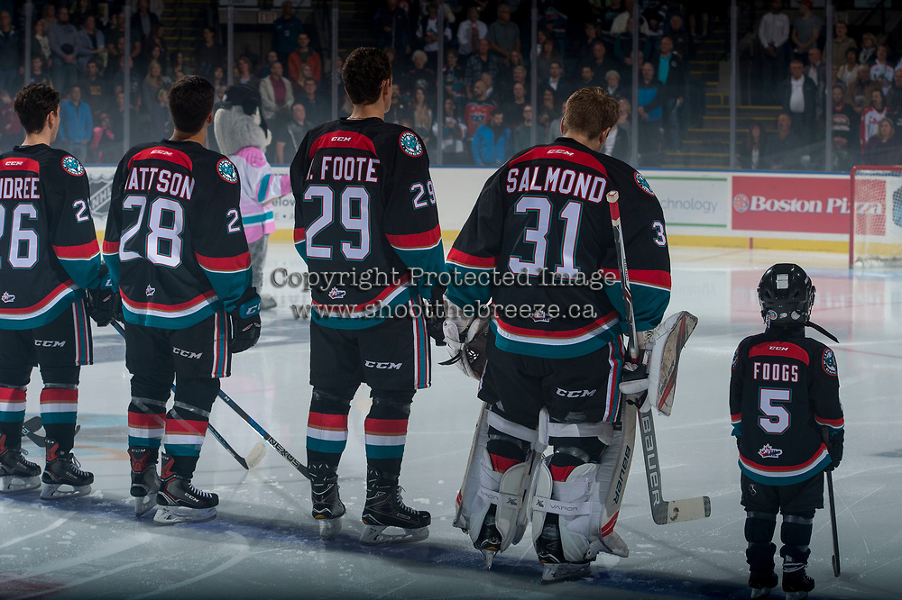 KELOWNA, CANADA - SEPTEMBER 22: The Pepsi player of the game and the Kelowna Rockets line up for home opener against the Kamloops Blazers on September 22, 2017 at Prospera Place in Kelowna, British Columbia, Canada.  (Photo by Marissa Baecker/Shoot the Breeze)  *** Local Caption ***