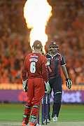 Jos Butler and Shahid Afridi during the NatWest T20 Blast final match between Northants Steelbacks and Lancashire Lightning at Edgbaston, Birmingham, United Kingdom on 29 August 2015. Photo by David Vokes.