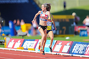 Eilish MCCOLGAN checks for second placed Jessica JUDD as she sprints to the finish line in the Women's 5000m Final during the Muller British Athletics Championships at Alexander Stadium, Birmingham, United Kingdom on 25 August 2019.