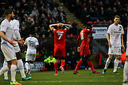 Michael Collins rues a missed chance during the EFL Sky Bet League 2 match between Leyton Orient and Barnet at the Matchroom Stadium, London, England on 7 January 2017. Photo by Jack Beard.