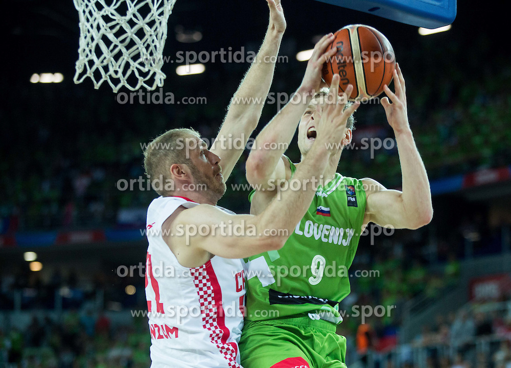 Luka Zoric of Croatia vs Jaka Blazic of Slovenia during basketball match between Croatia and Slovenia at Day 1 in Group C of FIBA Europe Eurobasket 2015, on September 5, 2015, in Arena Zagreb, Croatia. Photo by Vid Ponikvar / Sportida
