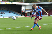 Gary McSheffrey  takes a shot at goal during the Sky Bet League 1 match between Scunthorpe United and Blackpool at Glanford Park, Scunthorpe, England on 5 September 2015. Photo by Ian Lyall.