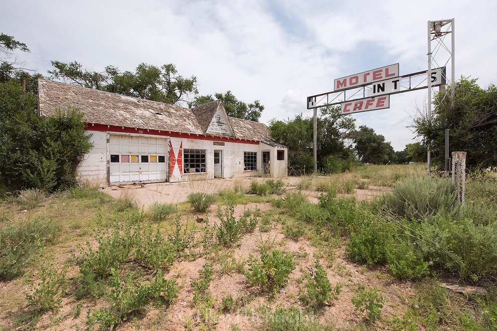 Abandoned First In Last In gas station on Route 66 in Glenrio, Texas